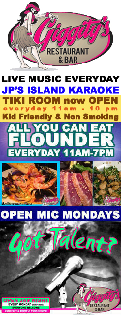 Live Music Everyday at Giggity's Restaurant & Bar in Port Aransas, Texas.  ALL YOU CAN EAT FLOUNDER everyday 11-7